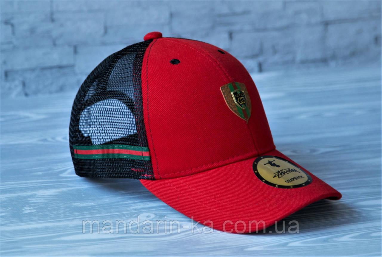 Кепка бейсболка блайзер Gucci Гуччи  красная  (реплика)