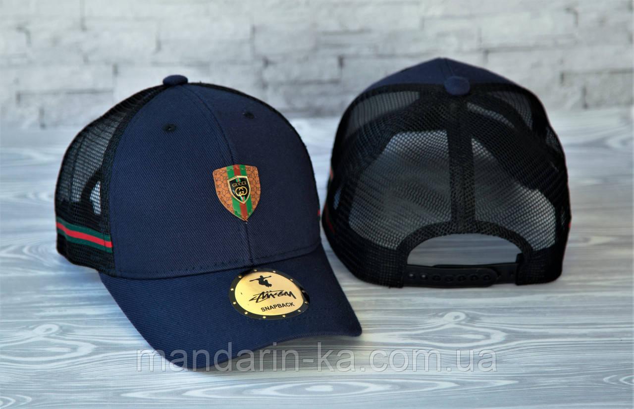 Мужская кепка синяя брендовая с логотипом (реплика)