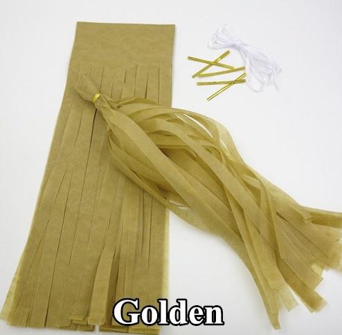 Гирлянды (кисточки) тассел золотистые 5шт. - 35см