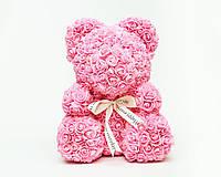 Мишка из роз Wish Mish Bless Розовый с лентой 25 см