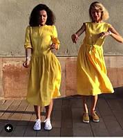 Платье яркое желтое, зеленое, красное  из льна офис, город. Размер ,фасон,  цвет  - любой! ХS-10XL, фото 1