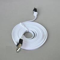 Кабель DL microUSB; AM-Micro B, 1м., белый, плоский