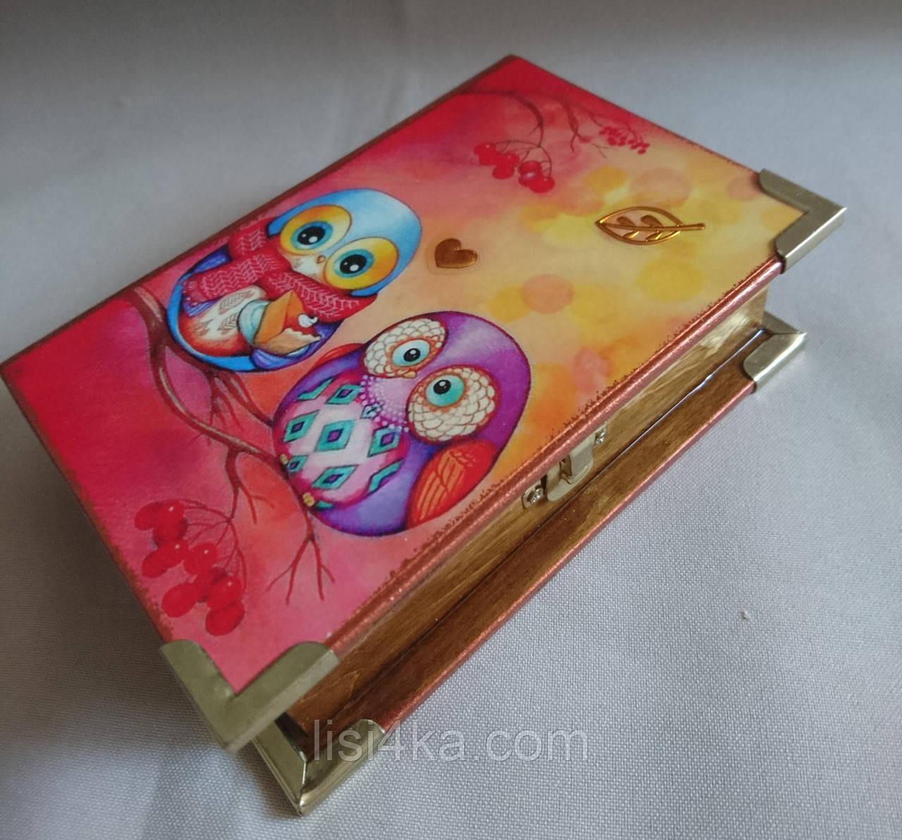 """Деревянная шкатулка-книга ручной работы """"Влюбленные совы"""""""
