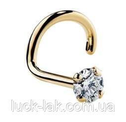 Пирсинг, серьга для носа, нострила с кристаллом, форма твист, цвет - золото