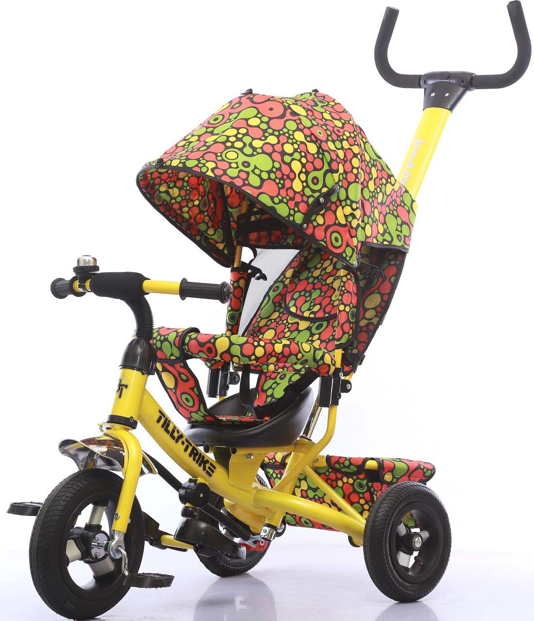 Велосипед трехколесный TILLY Trike T-351-4 ЖЕЛТЫЙ  с надувными колесами