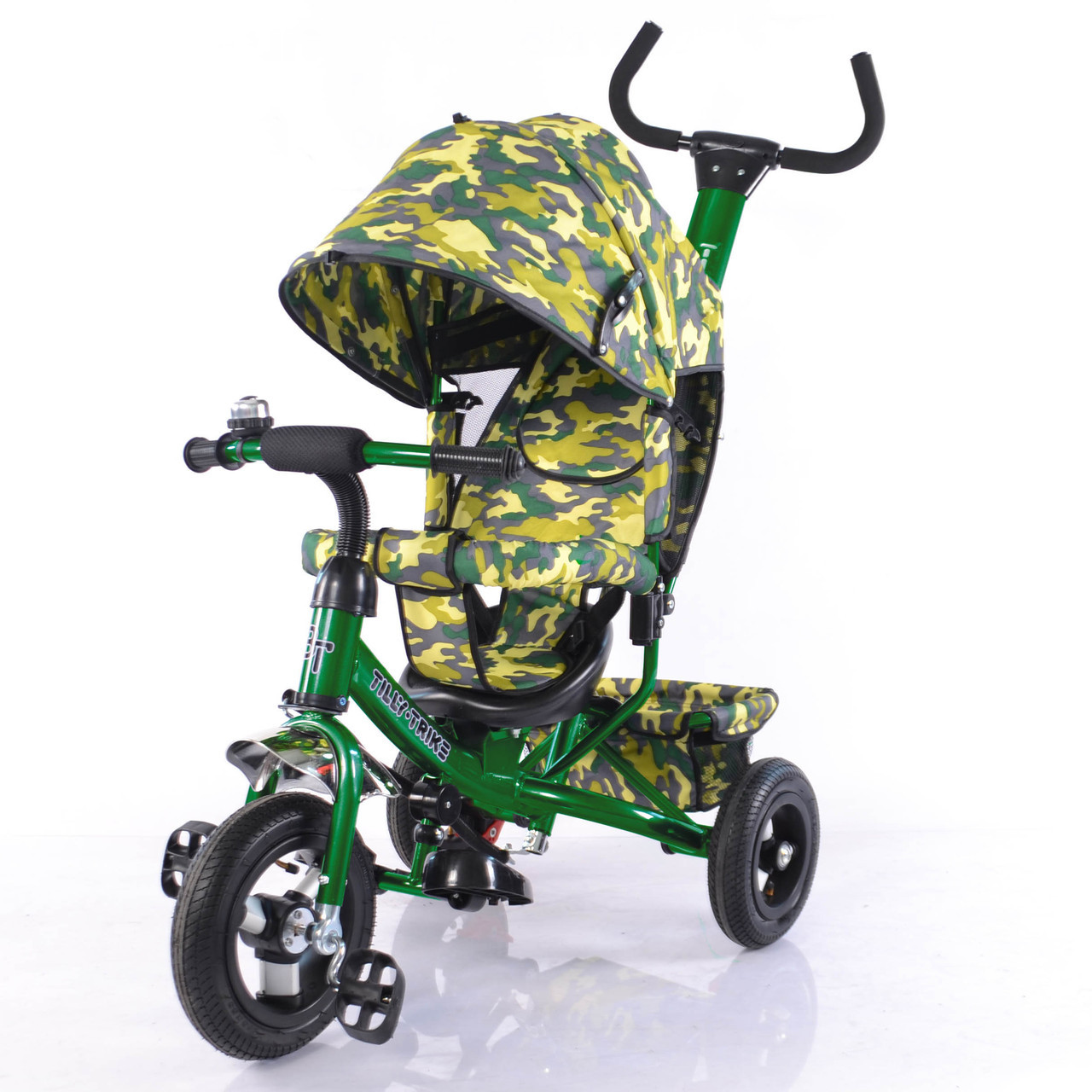 Велосипед трехколесный TILLY Trike T-351-8  ТЕМНО-ЗЕЛЕНЫЙ с надувными колесами