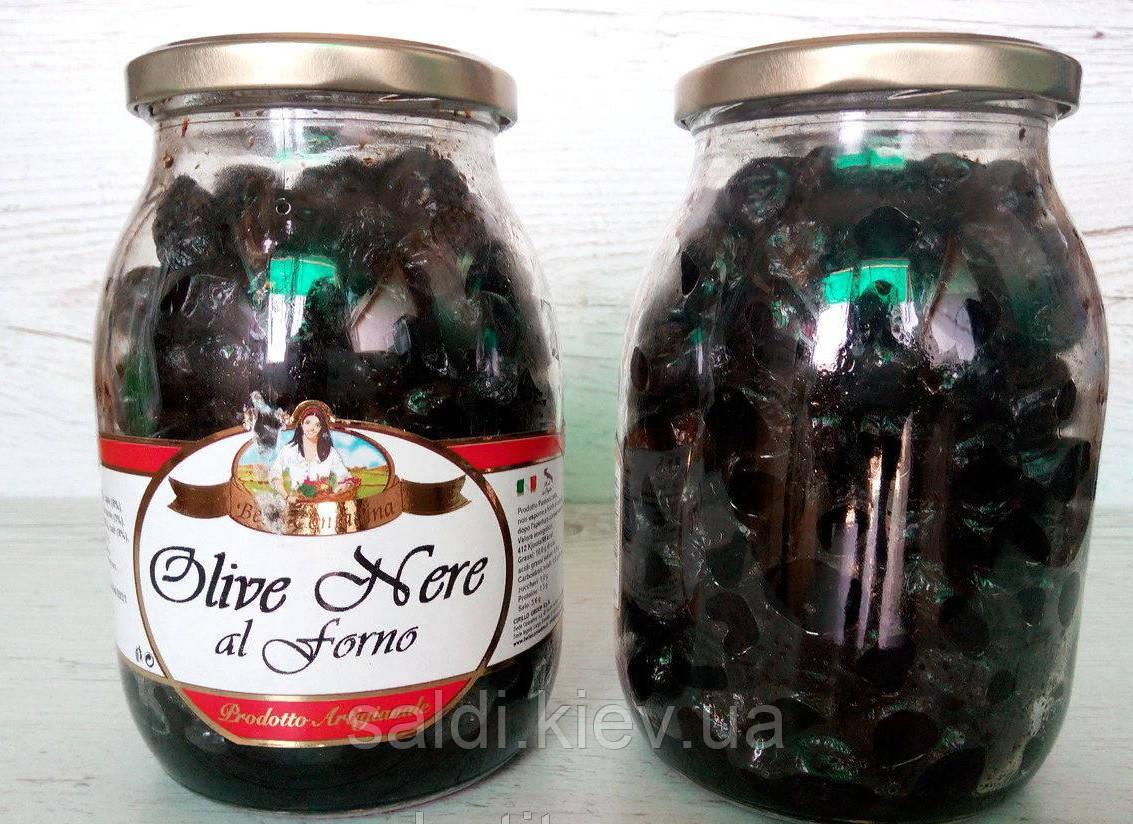 Маслины черные Olive Nere al Forno Bella Contadina вяленые, в масле, 900 г.