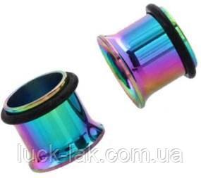 Тоннели в ухо 8 мм, разноцветные, 1 пара