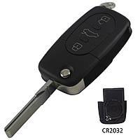 Корпус выкидного ключа Audi 3 кнопки старый тип под 1 батарейку CR2032