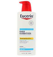 Eucerin, Лосьон, Ежедневное увлажнение, для сухой кожи, крем с защитным фактором SPF 15, без ароматизаторов, 500 мл