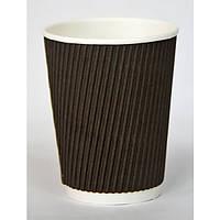 Стакан одноразовый 250 мл., 25 шт. бумажный гофрированный, коричневый