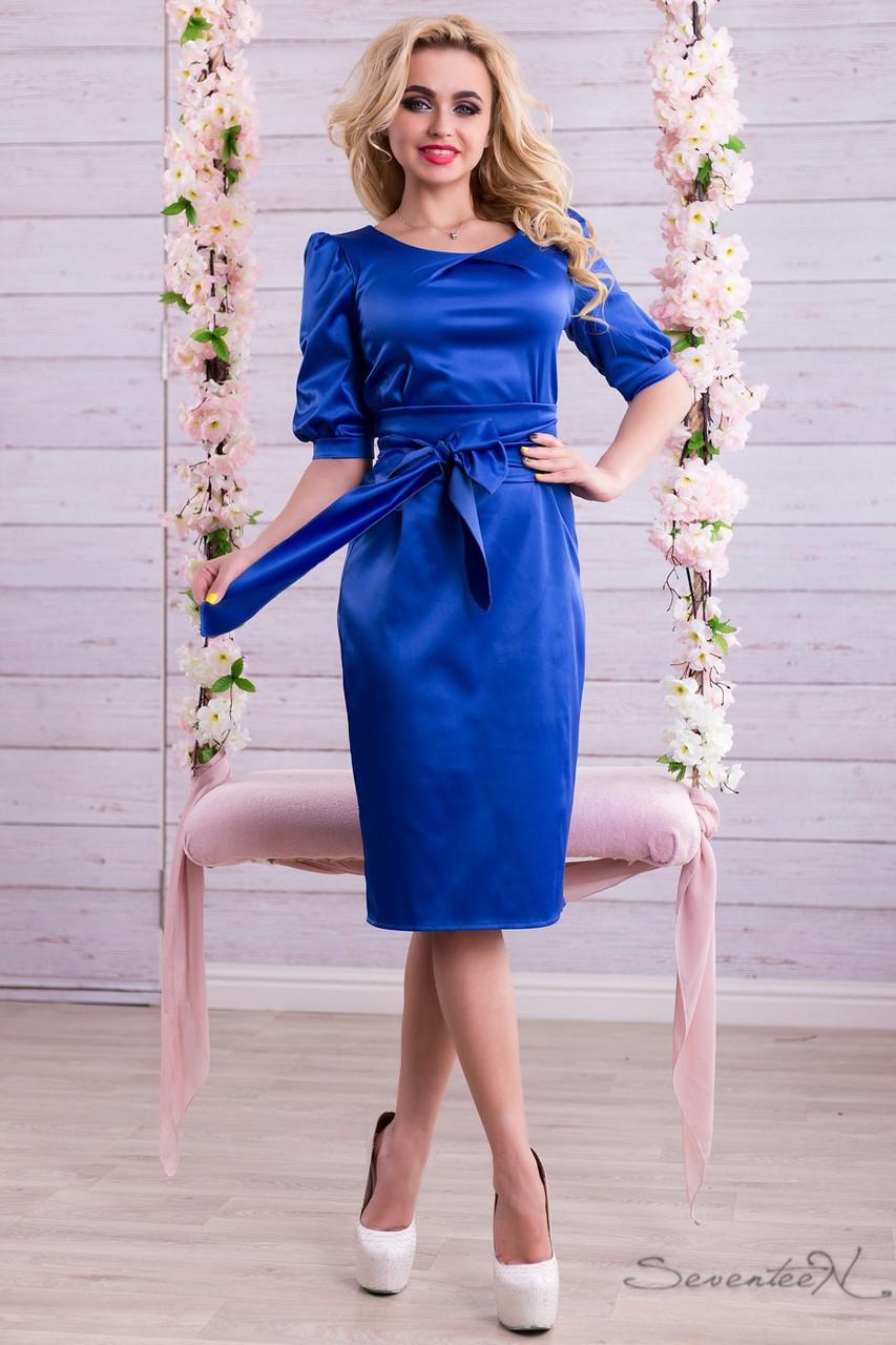 29209c9a1c3df77 🔰Синее атласное платье длины миди / Размер M L XL /P24А6В1 - 1320 - kontakt