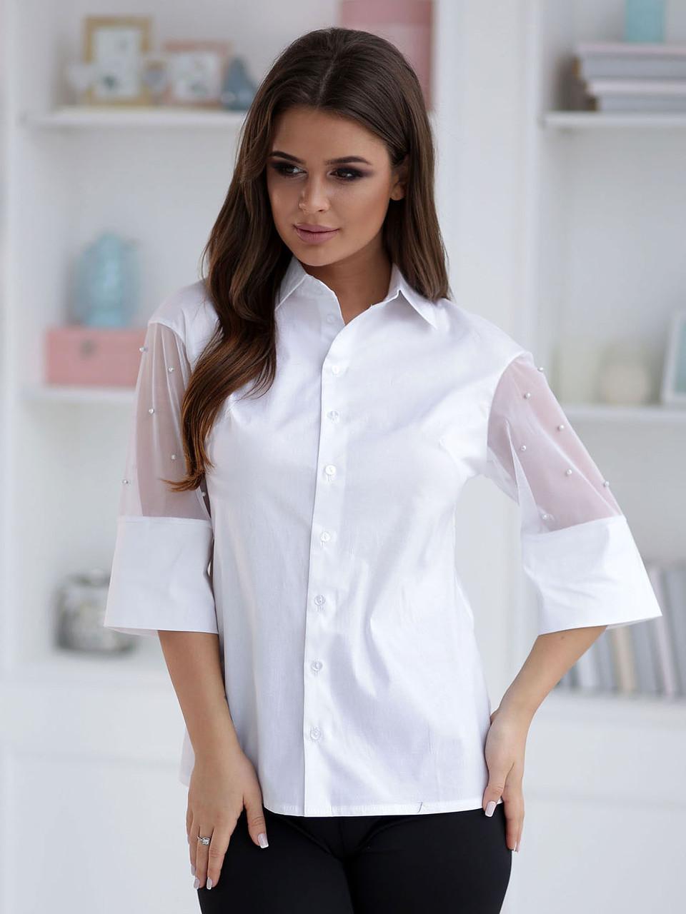 Белая Блузка Нора деловой стиль