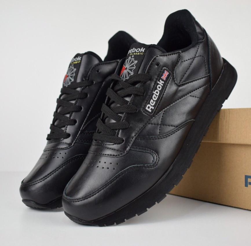 Мужские кроссовки Reebok Classic leather черные/белая надпись.  Живое фото (Реплика ААА+)