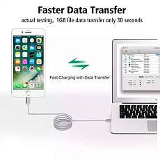 Mantis магнитный кабель Lightning для iPhone. Серебристый. Лучшее качество!, фото 2