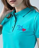"""Женское медицинское поло мята с вышивкой """"Medicinе"""""""
