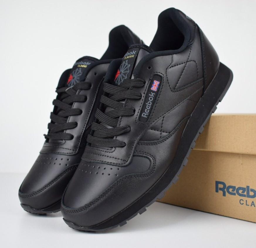 Мужские кроссовки Reebok Classic leather черные/серая надпись.  Живое фото (Реплика ААА+)
