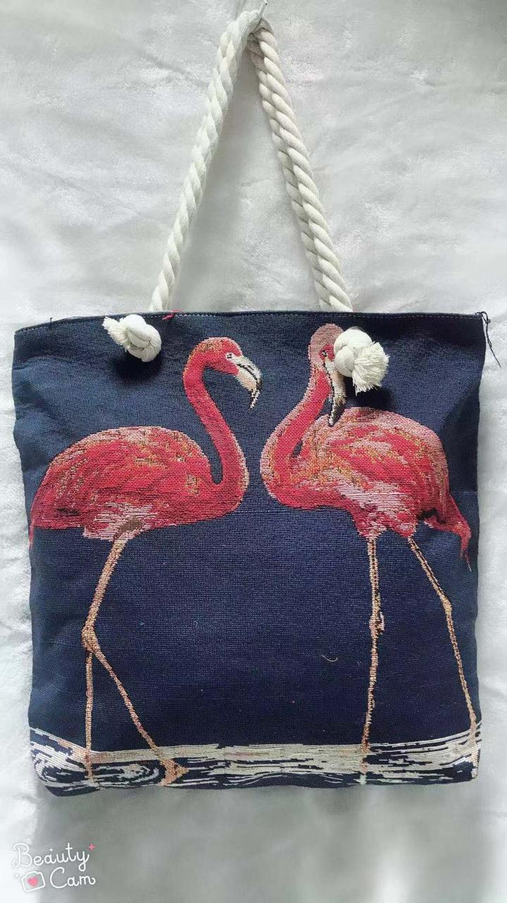 a7d03859f138 Сумка пляжная текстильная Фламинго представлен в магазине «BAGSTYLE»