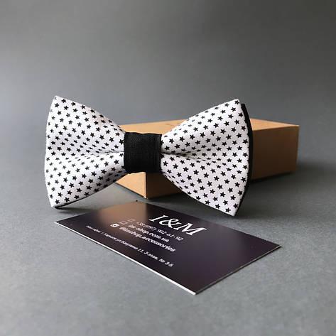 Галстук-бабочка I&M Craft белый в черные звездочки (010282), фото 2