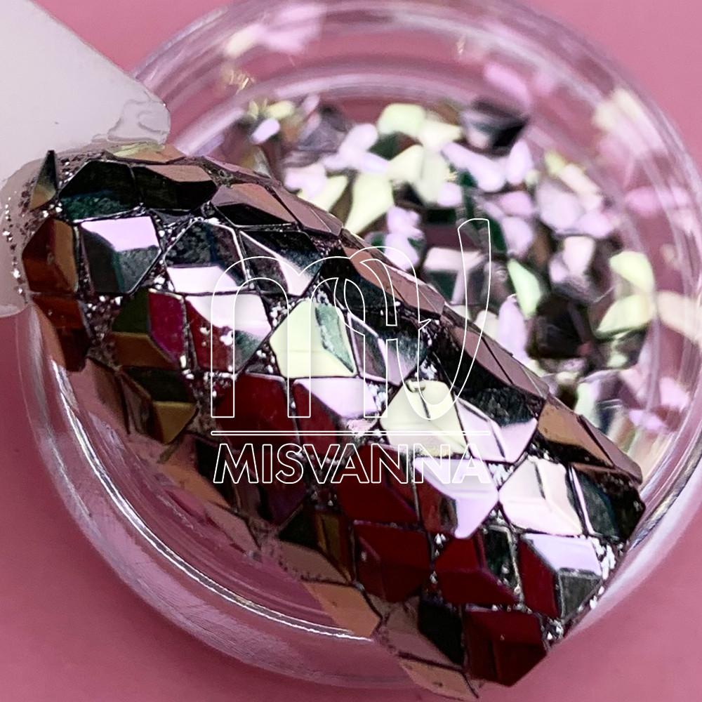Чешуя Дракона №16, розово-салатовые пятигранники