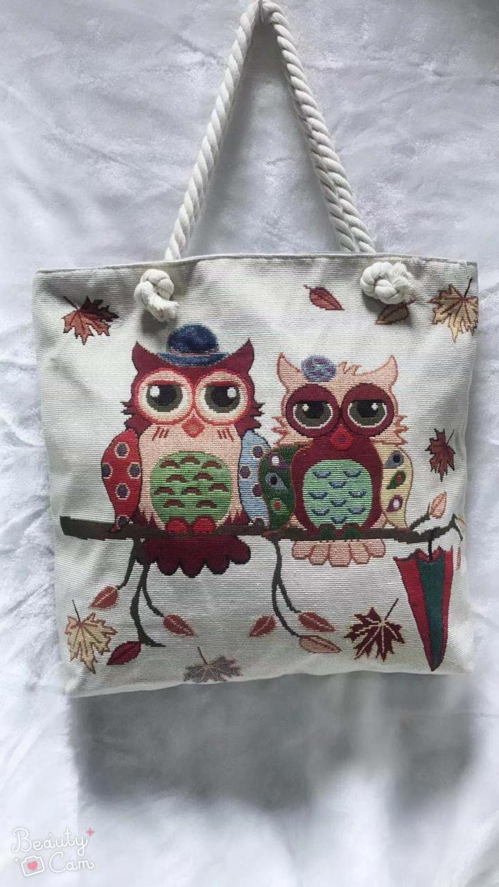 Пляжная текстильная женская сумка Совушки
