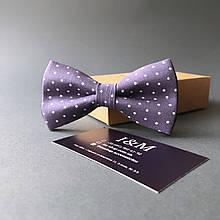Галстук-бабочка I&M Craft сиреневый в горошек (010502)
