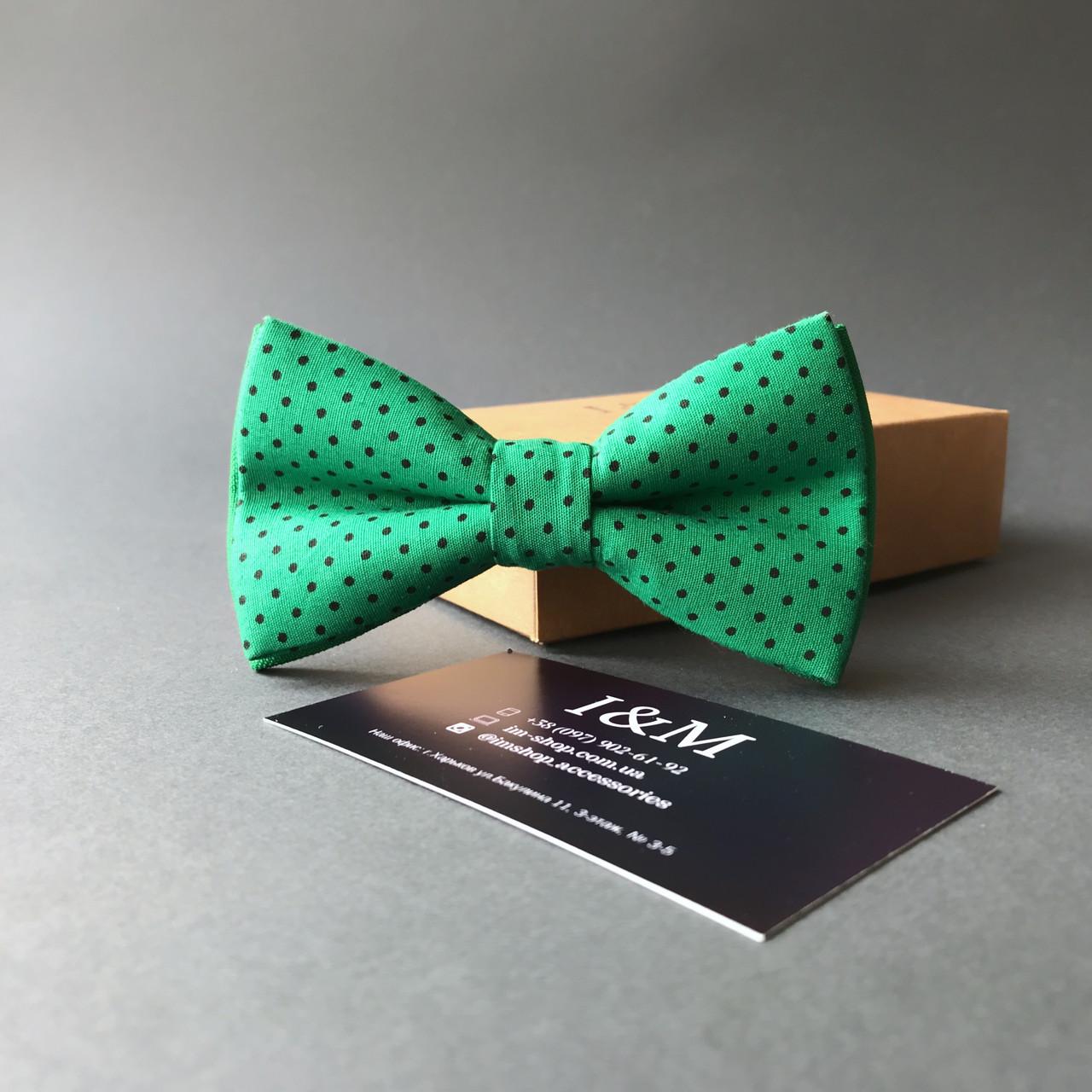 Галстук-бабочка I&M Craft зелёный в горошек (10503G)