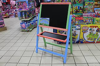 Мольберт крутяшка двухсторонний окрашенный магнитный для рисования мелом и маркерами для детей, фото 3