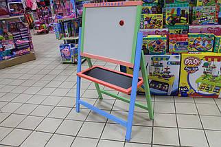 Мольберт крутяшка двухсторонний окрашенный магнитный для рисования мелом и маркерами для детей, фото 2