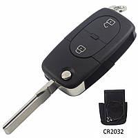 Корпус выкидного ключа Audi 2 кнопки старый тип под 1 батарейку CR2032, фото 1