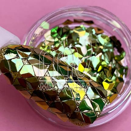 Чешуя Дракона №17, бронзово-салатовые пятигранники, фото 2