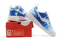 Женские кроссовки Nike Roshe Run Print синие, фото 1