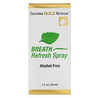 California Gold Nutrition, Спрей для свежести дыхания, натуральная мята, без спирта, 1 жидкая унция (30 мл)
