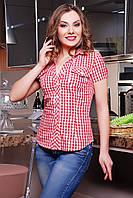 Рубашка женская красная в клетку приталенная с отложным воротничком из хлопка