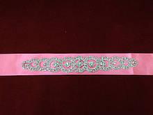 Пояс с камнями Swarovski для свадебного/вечернего платья неоново-розовый