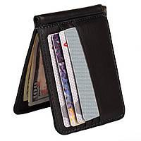 Кожаный зажим - портмоне для денег на магните Kafa 122-22 черный, фото 1