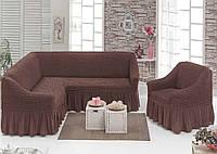Еврочехол на угловой диван с креслом, Турция с оборкой (шоколад)
