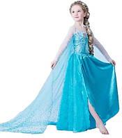 Детское карнавальное Платье Эльзы со шлейфом р. 105 - 145 из м/ф холодное ледяное сердце