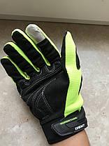 Защитные мото перчатки салатовые Suomy с внутренней защитой Kawasaki Suzuki, фото 3