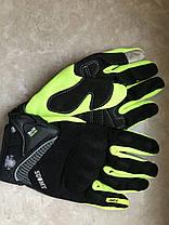 Защитные мото перчатки салатовые Suomy с внутренней защитой Kawasaki Suzuki, фото 2