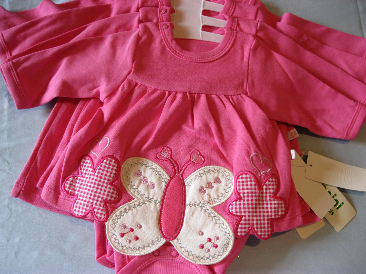dab24f181324 Детское боди- платье с длинным рукaвом, Бабочки ,для девочки 50cm Турция