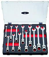 Набор ключей комбинированных трещоточных с шарниром 12 пр. (8-19мм) в ложементе FORCE K51210F.