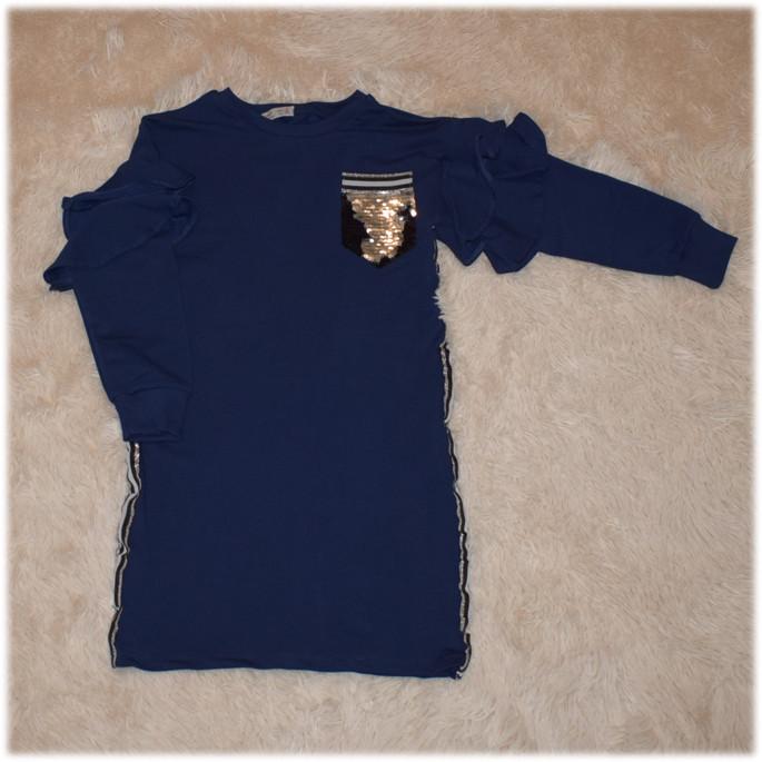 Платье перевертыш на девочку синего цвета TOONTOY размер 128 140 146 152 158 164 176