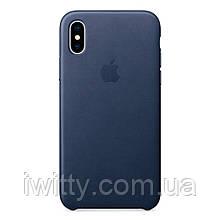 Чехол для  Apple iPhone Xs - Leather Case - Midnight Blue (MRWN2)