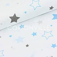 ✁ Отрезы бязи Звезды разных размеров серо-голубые, фото 1