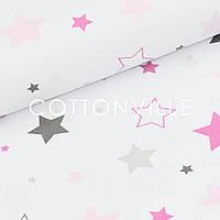 Бязь Звезды разных размеров серо-розовые, фото 1