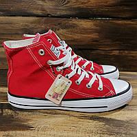 Кеды мужские Converse All Star - красные, в стиле Конверс, материал - текстиль код DR-00046