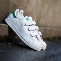 Кроссовки мужские белые с зеленым ADIDAS STAN SMITH на липучках топ реплика d5993cceb4380