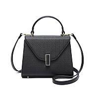 Кожаная женская сумочка черного цвета с длинным ремешком, фото 1