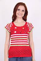 Летняя женская вязаная футболка